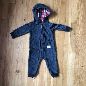 Carter's Dark Heather Grey Hooded Jumpsuit Size 9m